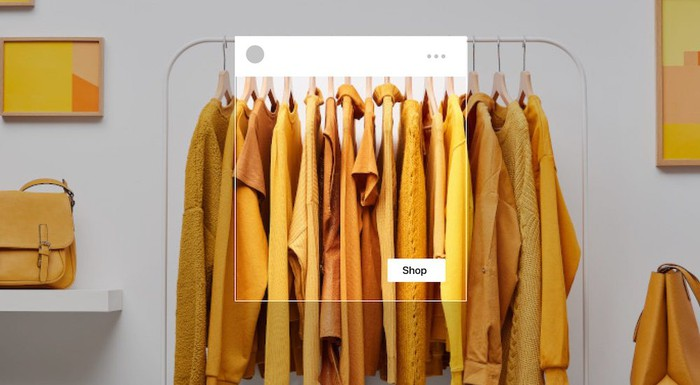 "A bunch of yellow dresses on hangers, highlighted with a ""shop"" box to show how they'd look in Facebook Shops"