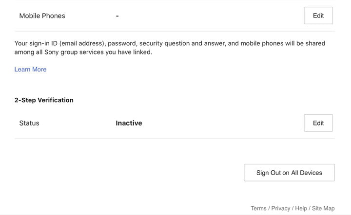 PSN 2 Factor Authentication