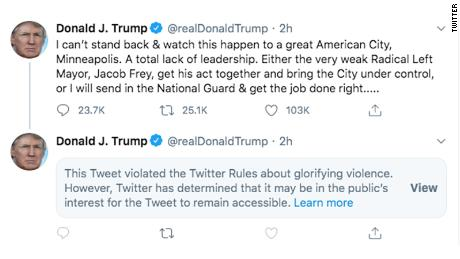 """President Donald Trump's tweet violated rules against """"glorifying violence,"""" according to Twitter."""