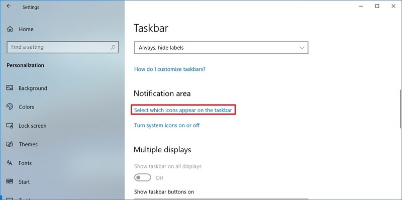 Select which icons appear on the taskbar option