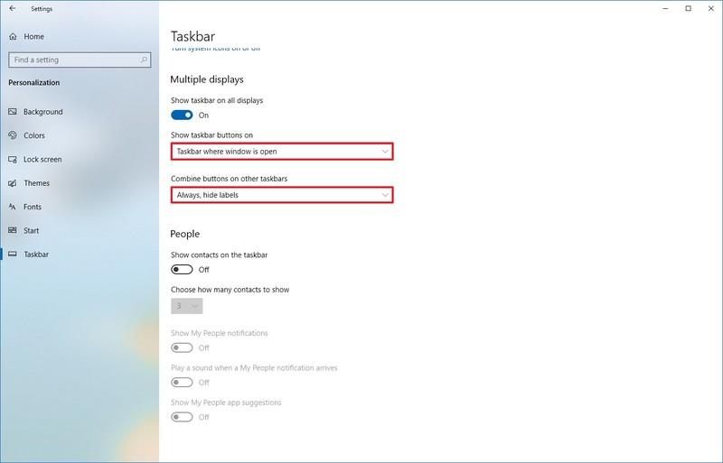 Windows 10 multiple displays taskbar settings