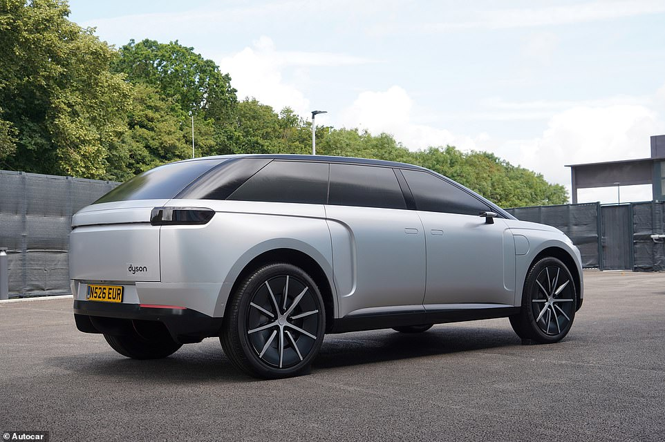The new pictures show the 5-metre-long SUV with Dyson branding clearly on the rear, as it was revealed that the one-off prototype had been developed to a point where it was almost production-ready