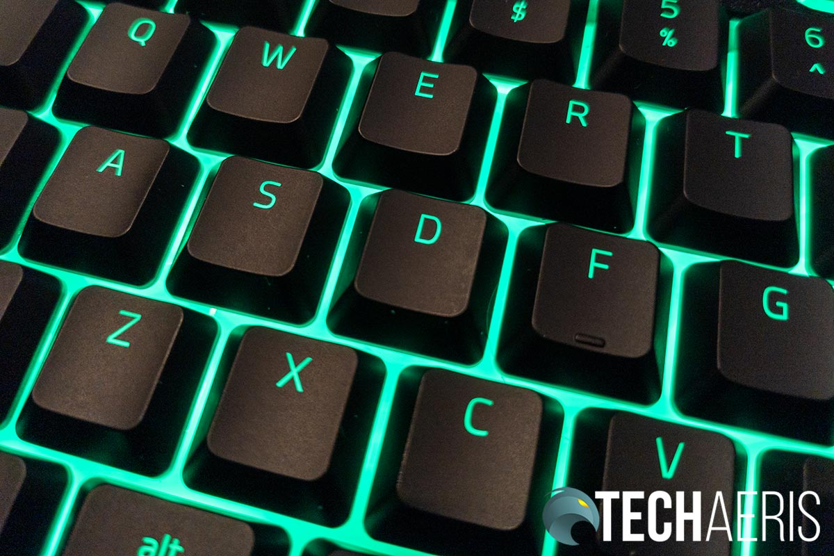 The low profile keys on the Razer Ornata V2 allow for more LED light to show, creating a floating key effect