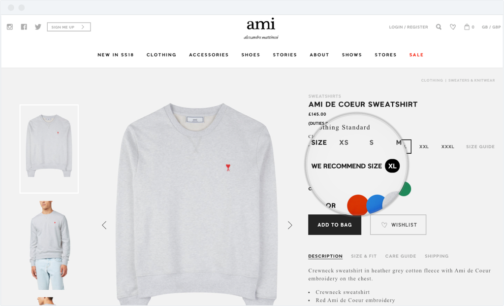 Ami Paris online store adopted the EasySize technology