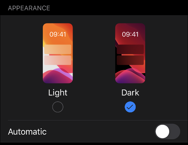 "The ""Light"" and ""Dark"" options in the ""Appearance"" menu on iOS 13."