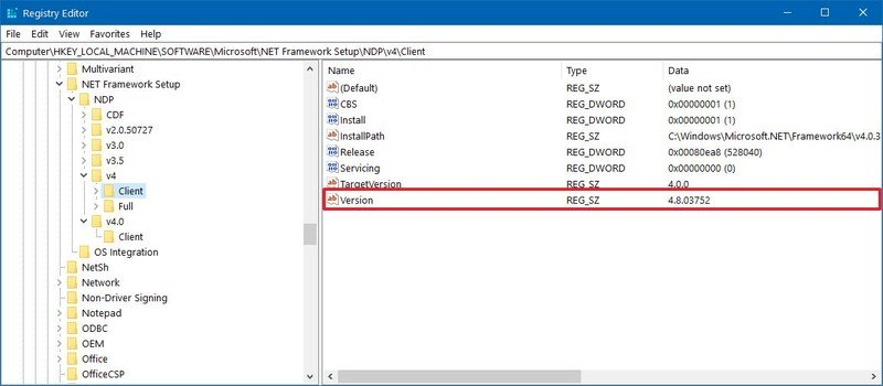 Check .NET Framework version with Registry