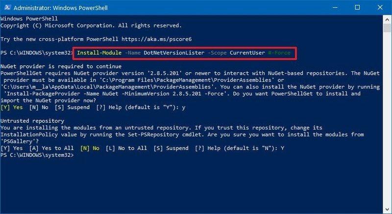 Install Dotnetversionlister on Windows 10