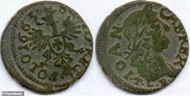 The coins are part of a pre-Christian belief and were placed in the mouth of the dead to be used as payment for the ferryman to bring the soul across the river that divided the world of the living and the dead