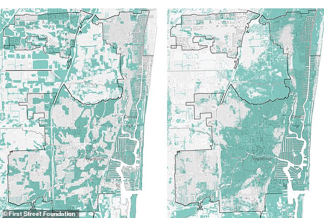 Similar to the area in Chicago, one zip code west of Fort Lauderdale is 80 percent African American. First Street's map (right) shows more than 42 percent of properties on the floodplain, while FEMA's (left)calculation is just 6.5 percent