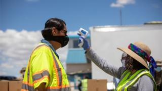 Navajo Nation President Jonathan Nez has his temperature checked on May 27, 2020 in New Mexico, US