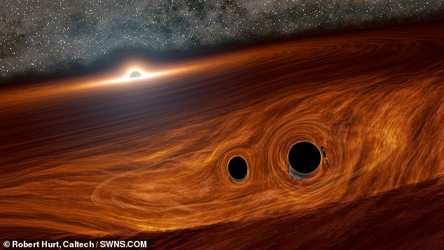 An international team, including British and American astronomers, witnessed massive 'flares' created by the colossal cosmic crash of two black holes in orbit around a supermassive giant at the centre of a distant galaxy
