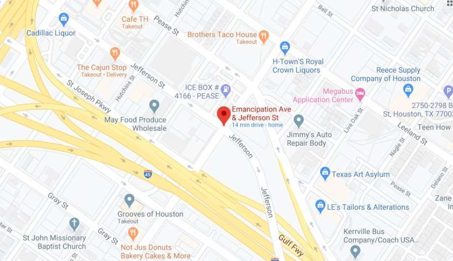 Video footage shows recorded on the corner of Jefferson Street and Emancipation Avenue shows Derek Hall, 40, attacking several people with a wooden post and striking a police officer with a car. Photo: Google Maps
