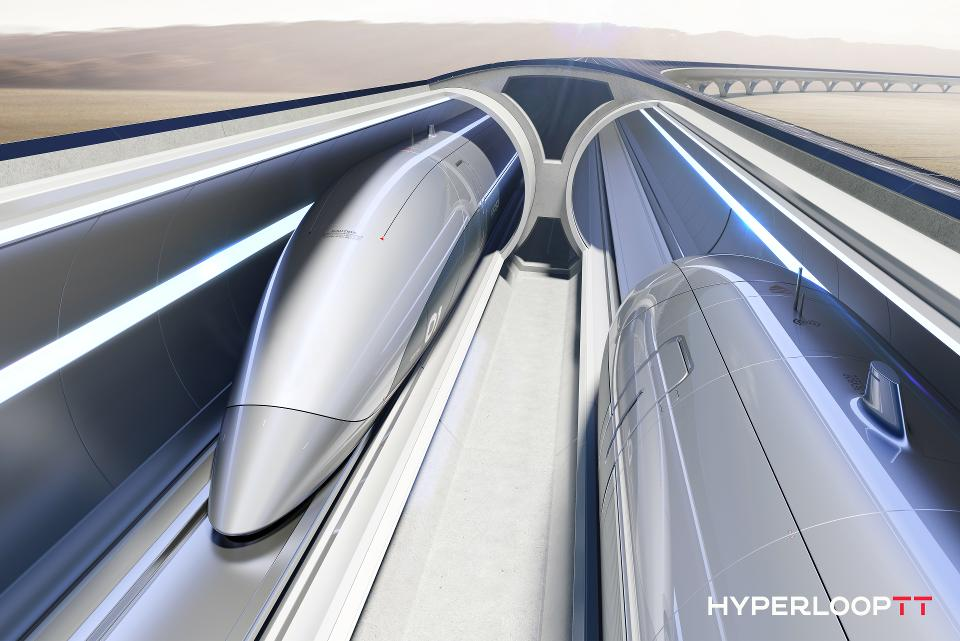 Cutaway view of the HyperloopTT track and capsules