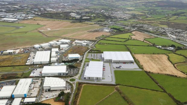 An aerial view of Greenogue Logistics Park shows the location of the two new units to the right.