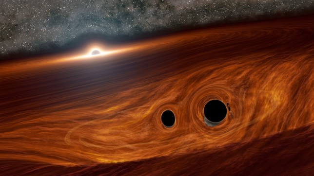 Undated handout artist's impression issued by Caltech University of a supermassive black hole and its surrounding disk of gas. Flares of light that may have been created by two black holes colliding have been seen for the first time, astronomers say. PA Photo. Issue date: Thursday June 25, 2020. Experts say the findings potentially create a new chapter within astrophysics because the merger of black holes was not expected to generate light waves. See PA story SCIENCE BlackHoles. Photo credit should read: Robert Hurt/Caltech/PA Wire NOTE TO EDITORS: This handout photo may only be used in for editorial reporting purposes for the contemporaneous illustration of events, things or the people in the image or facts mentioned in the caption. Reuse of the picture may require further permission from the copyright holder.
