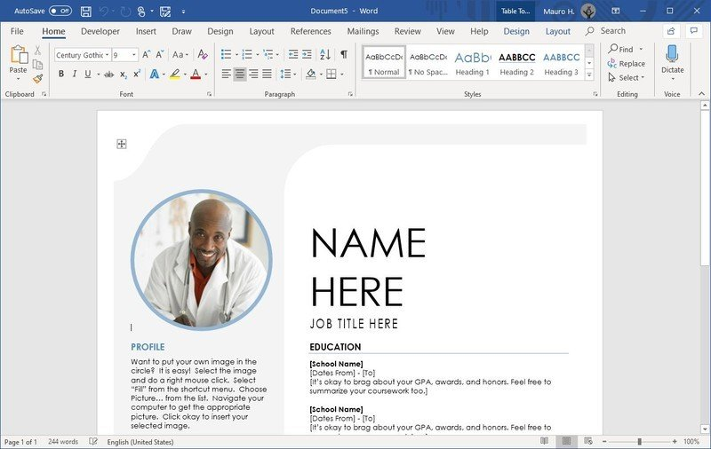 Word create template content