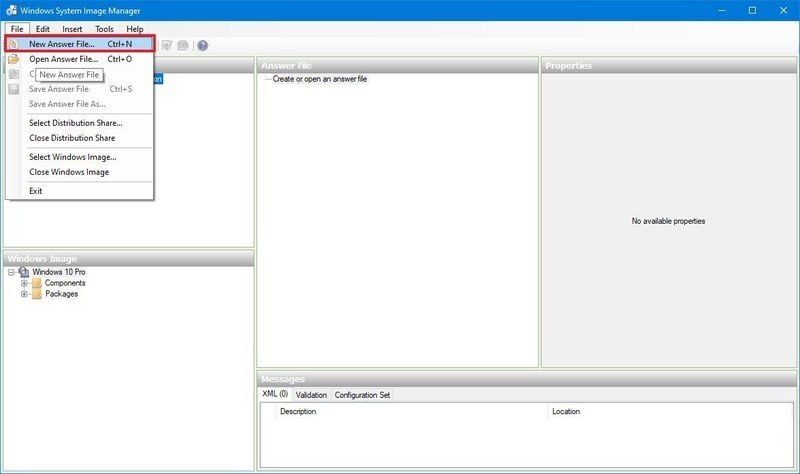 Create Windows 10 answer file