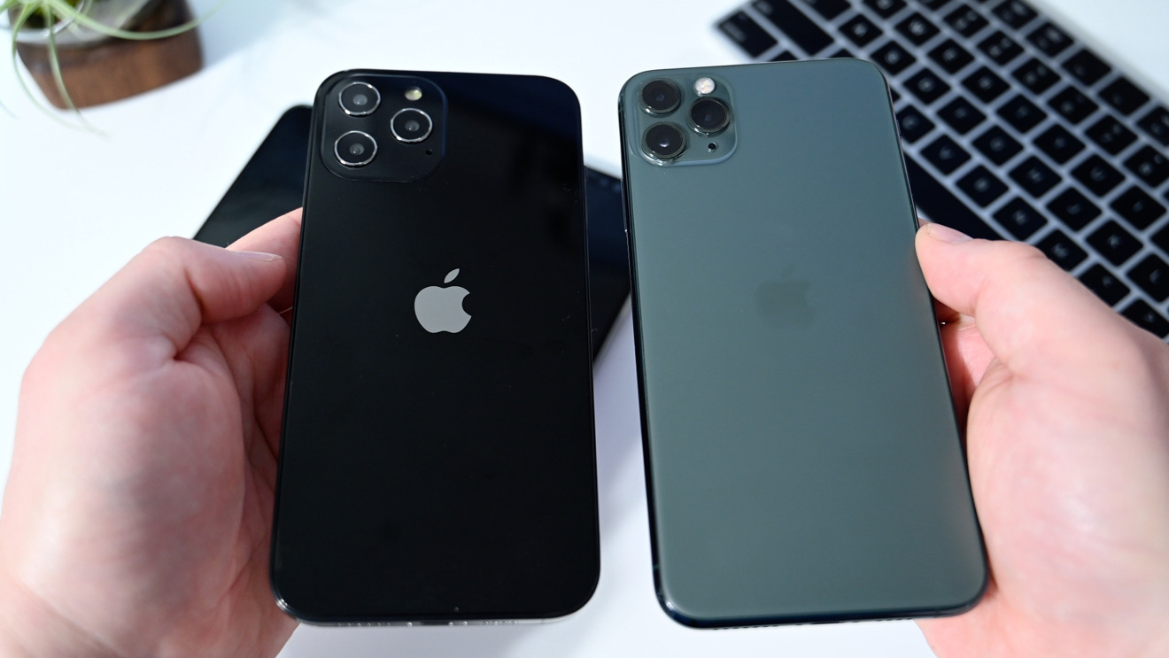 The new iPhone 12 Pro Max against iPhone 11 Pro Max (right)