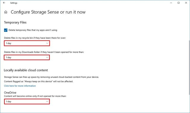 Storage Sense advanced settings