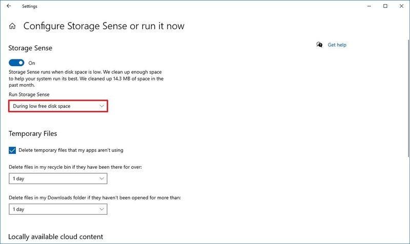 Storage Sense enable option