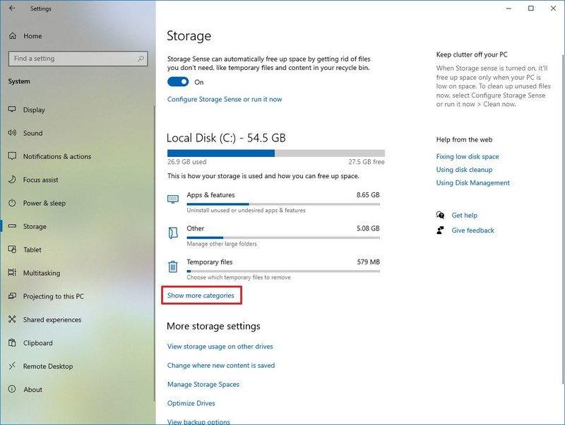 Storage Sense show more categories option for temporary files