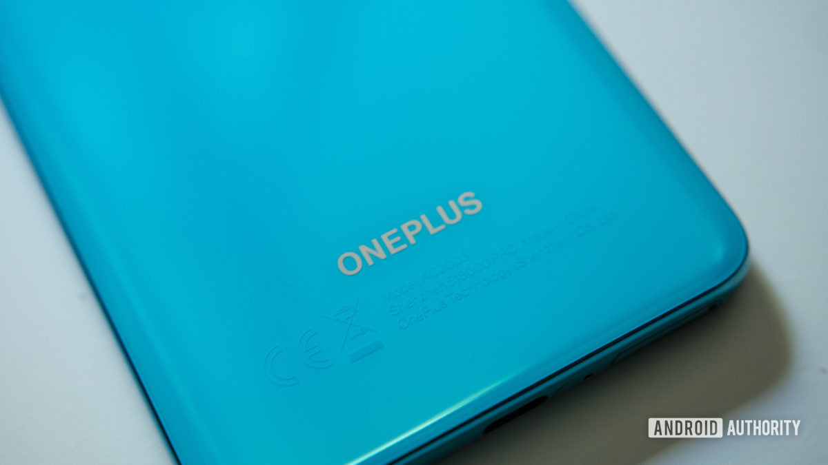 OnePlus Nord Oneplus text at the bottom of the phone at an angle