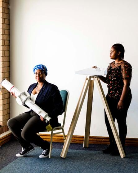 Lesego Masethe (left) and Precious Nobuhle Tshabalala, with their telescope at ScopeX. Masethe works with disadvantaged schoolchildren in Johannesburg, teaching them astronomy.