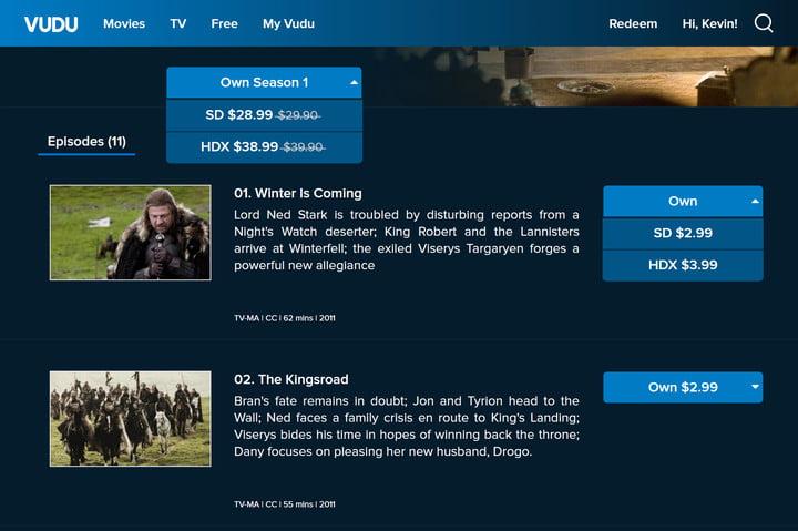 Vudu Purchase TV Shows