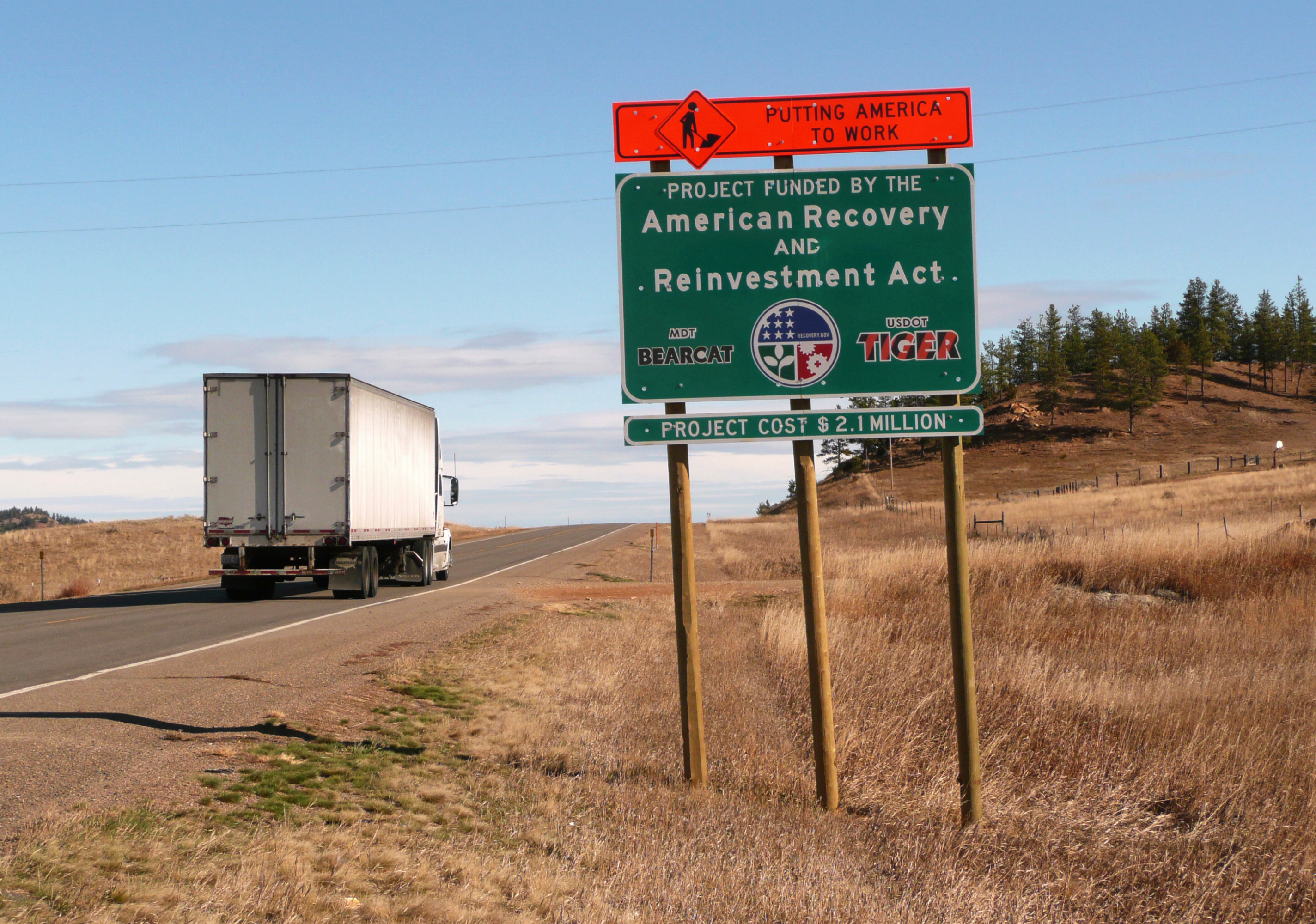road sign for American Recovery Act