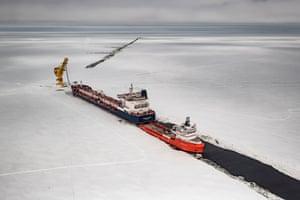 Russia, Yamal Peninsula, Cape Kamenny, May 2018 Gazprom Neft's 'Arctic Gate' terminal in Gulf of Ob