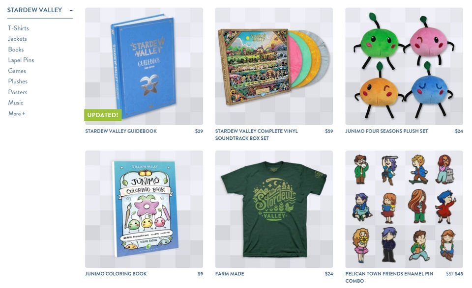 Examples of Stardew Valley merchandise like books, records, and plush toys.