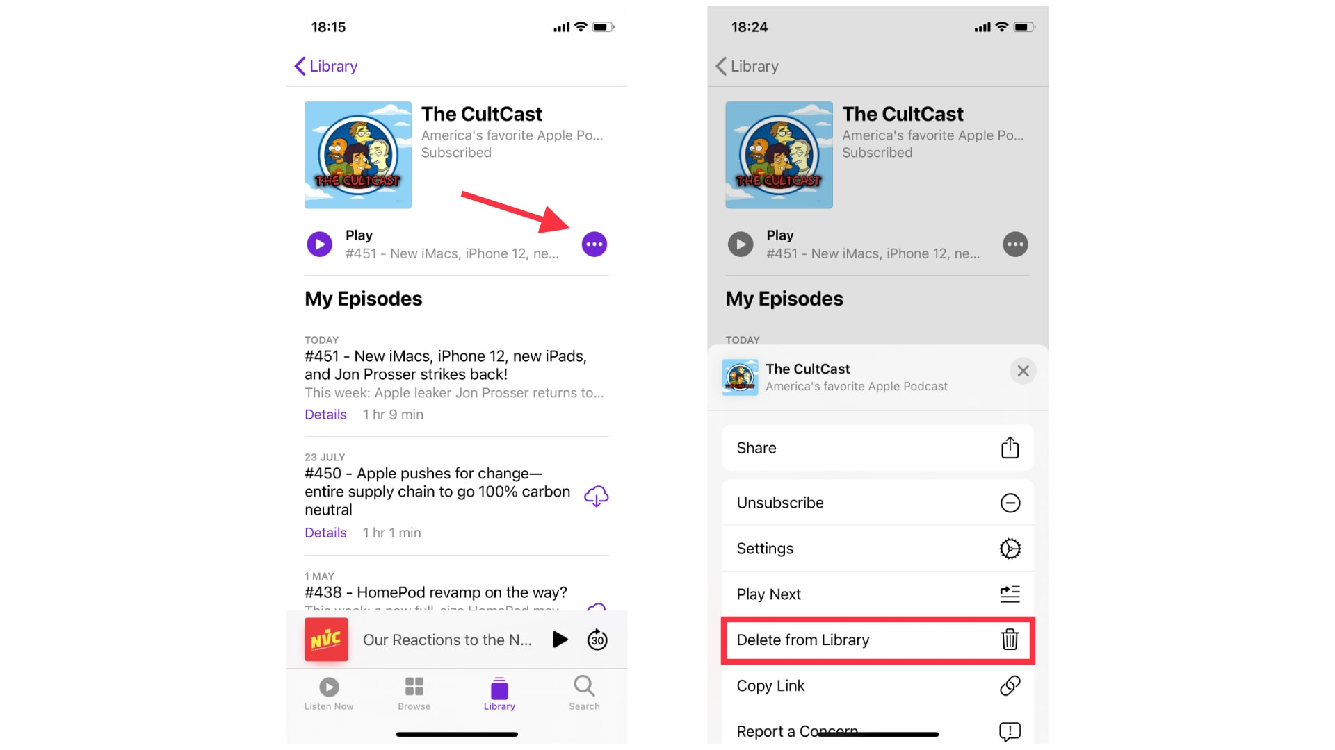 How to delete Podcasts from iPhone