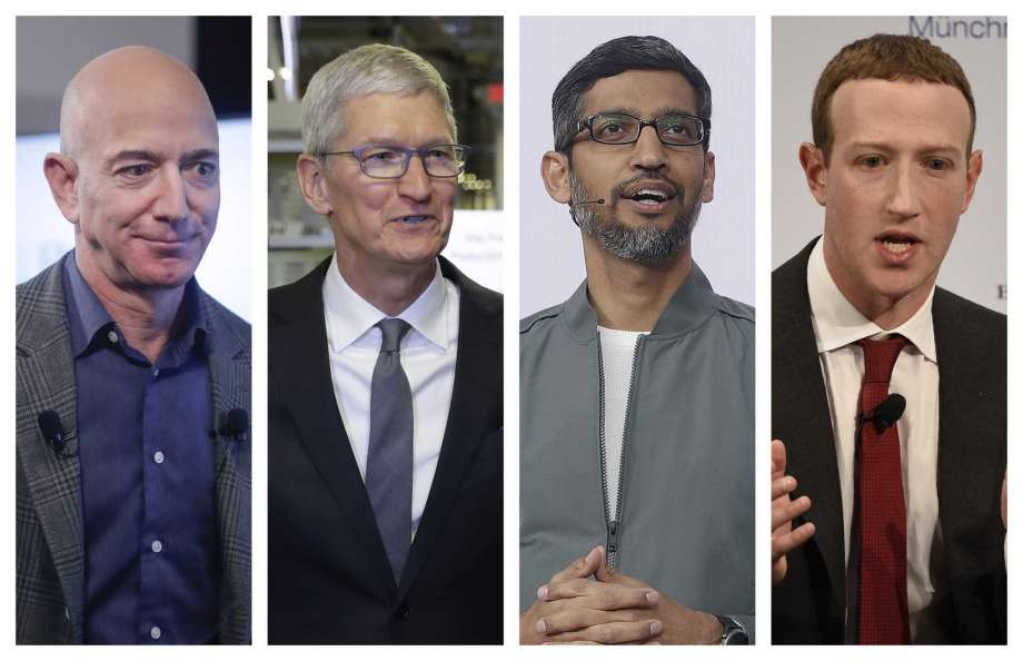 This combination of 2019-2020 photos shows Amazon CEO Jeff Bezos, Apple CEO Tim Cook, Google CEO Sundar Pichai and Facebook CEO Mark Zuckerberg. On Wednesday, July 29, 2020, the four Big Tech leaders will answer for their companies' practices before Congress at a hearing by the House Judiciary subcommittee on antitrust.  Photo: Pablo Martinez Monsivais Evan Vucci Jeff Chiu Jens Meyer, AP / Copyright 2019 The Associated Press. All rights reserved.