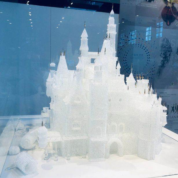 This $64,000 glass Disney castle by the Arribas Brothers was damaged by two children playing. Photo courtesy of the Shanghai Museum of Glass.