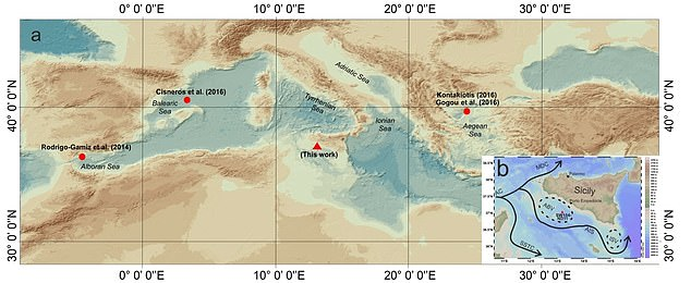 The study identifies the Roman period (1-500 AC) as the warmest period of the last 2,000 years. Map A shows the central-western Mediterranean Sea. Red triangle shows the location of the sample studied, while the red circles are previously-found marine records used for the comparison. Map B shows the Sicily Channel featuring surface oceanographic circulation and sample location. Black lines follow the path of surface water circulation