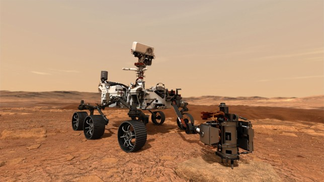 a NASA illustration shows NASA's Mars 2020 rover as it uses its drill to core a rock sample on Mars