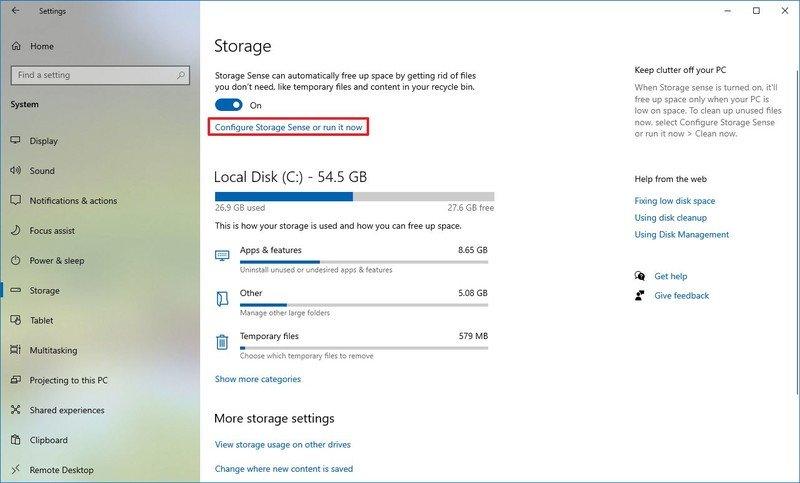Windows 10 Storage Sense configure option