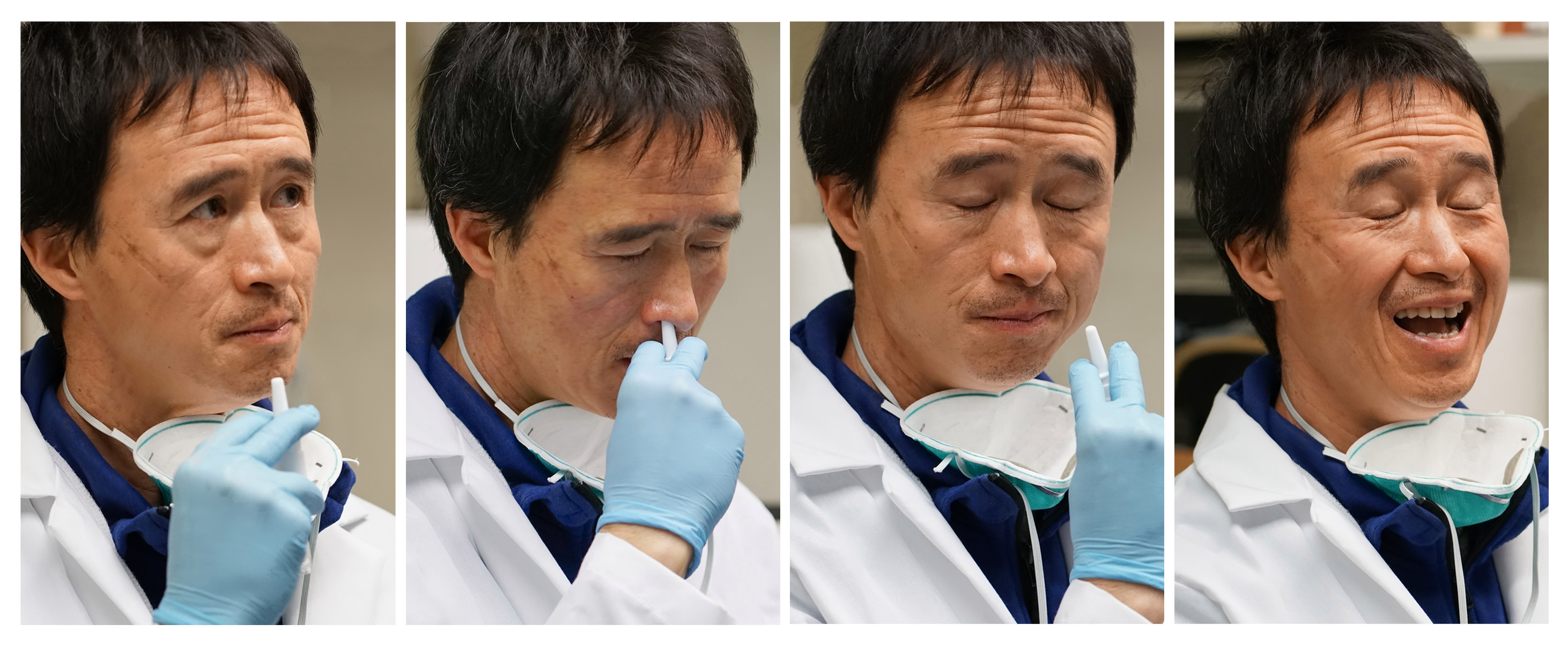 series of images of Don Wang self-administering vaccine