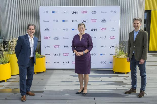 The Argus: Plus X chief executives Paul Rostas, left, and Mat Hunter, right, with University of Brighton vice-chancellor Professor Debra Humphries
