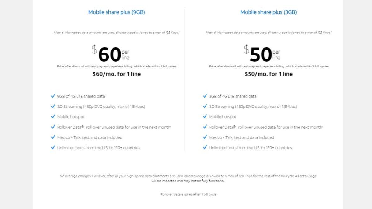 att mobile share plans