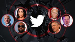 A photo illustration shows a range of celebrities - Kim Kardashian, Joe Biden, Elon Musk, Barack Obama, Kanye West, and Jeff Bezos - arrayed around a shattered glass image with the Twitter logo at its cetnre