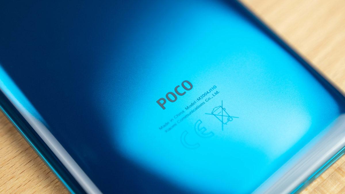 Poco F2 Pro Flat lay woth the poco logo