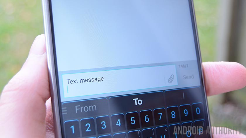 A photo of a text messaging app