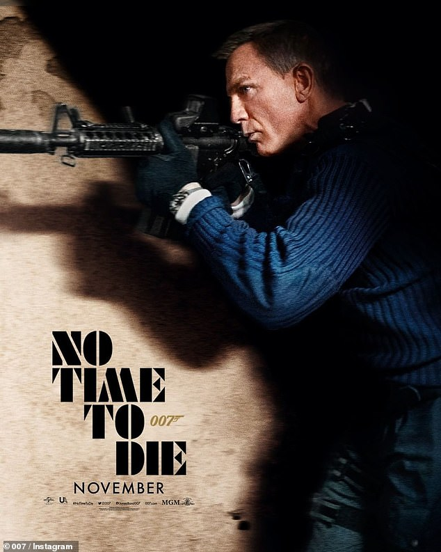 Exciting: Daniel Craig looked suave as he transformed into James Bond and went after enemies in an action-packed new poster for No Time To Die, which was released last week