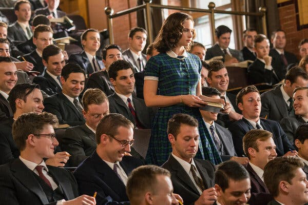 """Felicity Jones as Ruth Bader Ginsburg in """"On the Basis of Sex."""" The film will be re-released in some theaters this weekend."""