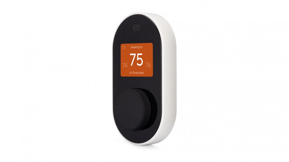 A Wyze Thermostat showing the heating system on