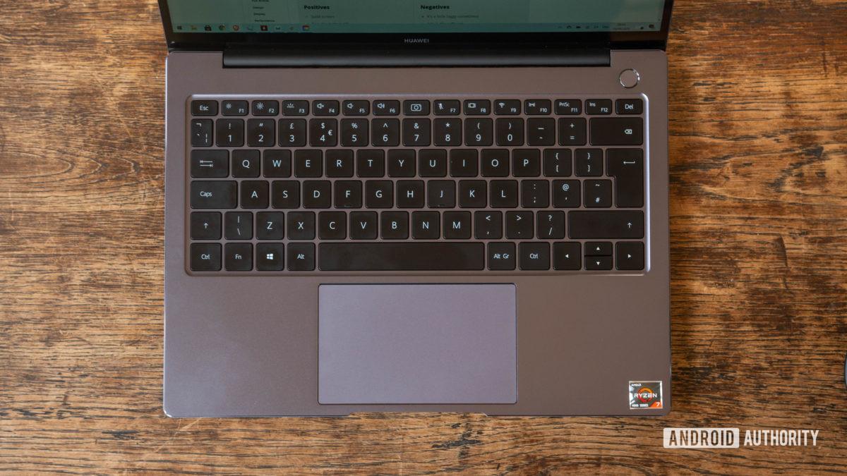 Huawei Matebook 14 2020 AMD top down keyboard deck shot