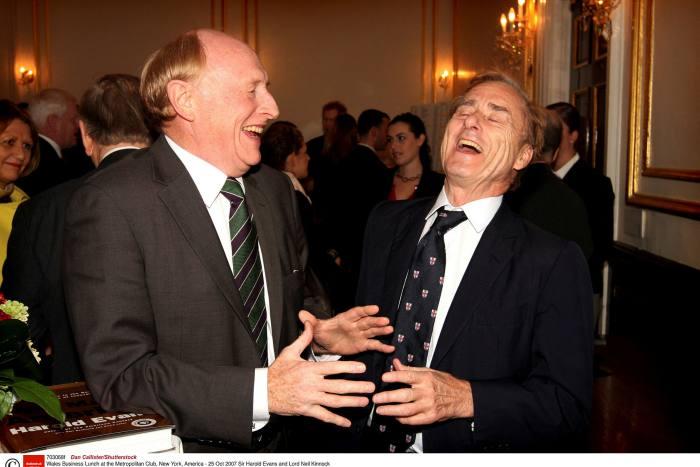 Harold Evans and Lord Neil Kinnock at New York's Metropolitan Club in 2007