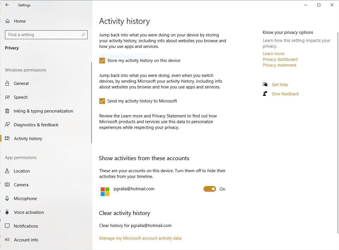 win10 privacy activity history v2004