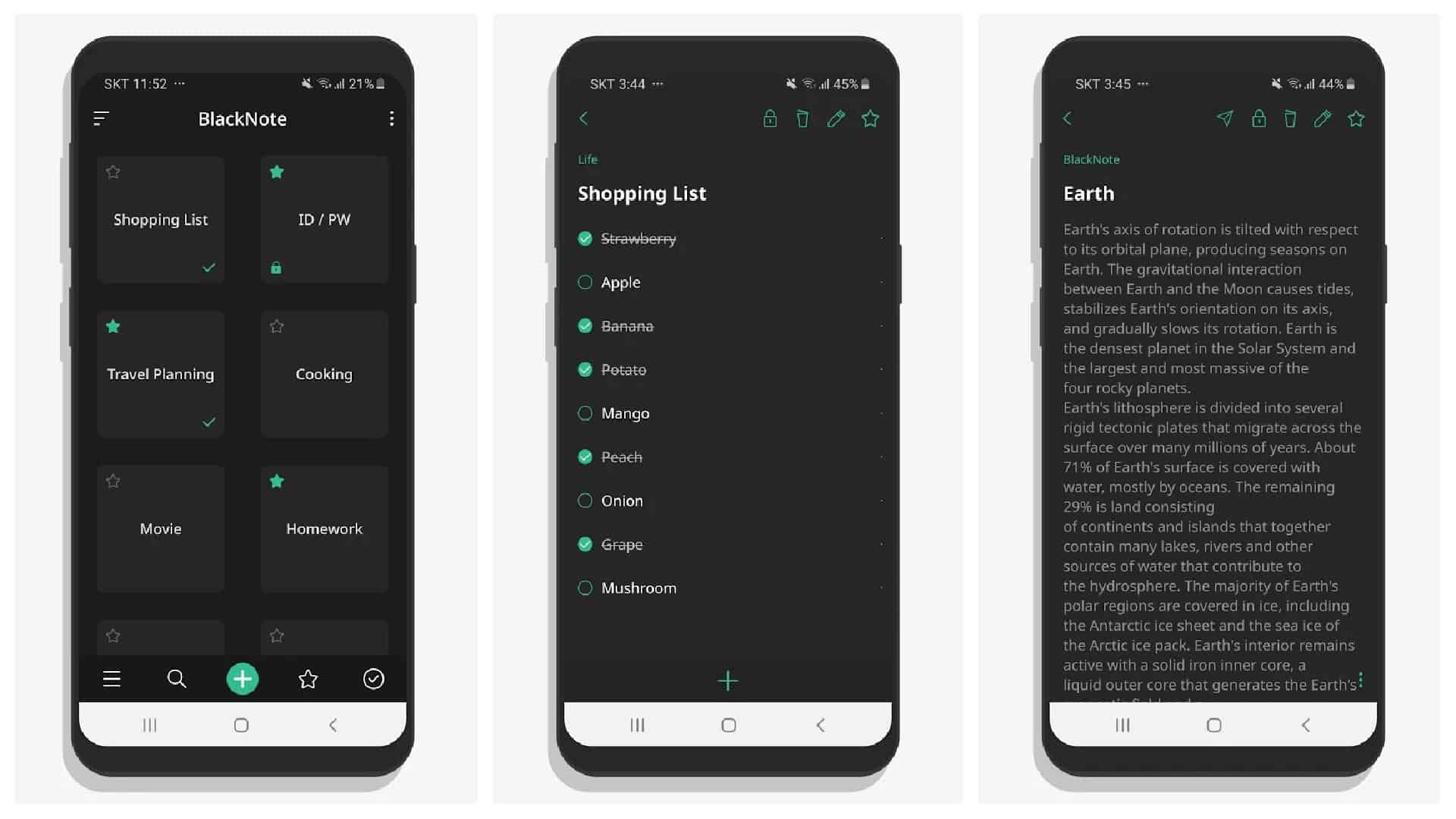 BlackNote app grid 1
